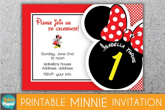 Invitaciónes de Minnie Mouse rojas - Imagui
