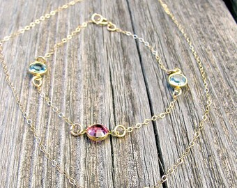 Birthstone Necklace Birthstone Bracelet Birthstone Jewelry Bracelet Set Necklace Set Jewelry Set Personalized Jewelry 14k Gold Filled  gift