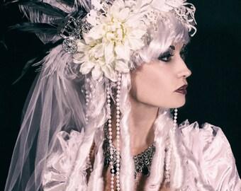 Marie Antoinette Wig / Rococo Style Wig / Haunted Mansion Wig / Powdered Wig / Baroque Wig/ Bride Wig/ Ghost Wig/ Ghost Bride Wig/