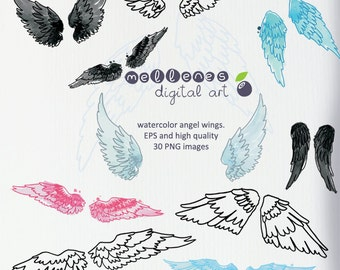 watercolor angel wings. Clip art / clipart scrapbook vector EPS and high quality PNG images for commercial and personal use