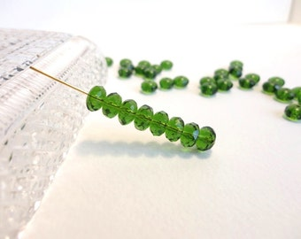 60 x 4x7mm Czech Glass Beads, Gemstone Donut Beads, Rondelle Beads, Faceted Beads, Green Beads, Fire Polished Beads GMD0073