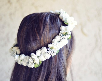 THE EMILY White Wedding Crown Bridesmaid Bridal Prom Hippie Gypsy  Style Hair Woodland Crown Head Band Crown  Spring Christmas Crown