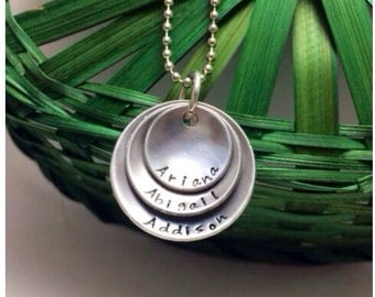Mom of Three Layered Cupped Personalized Mothers Necklace