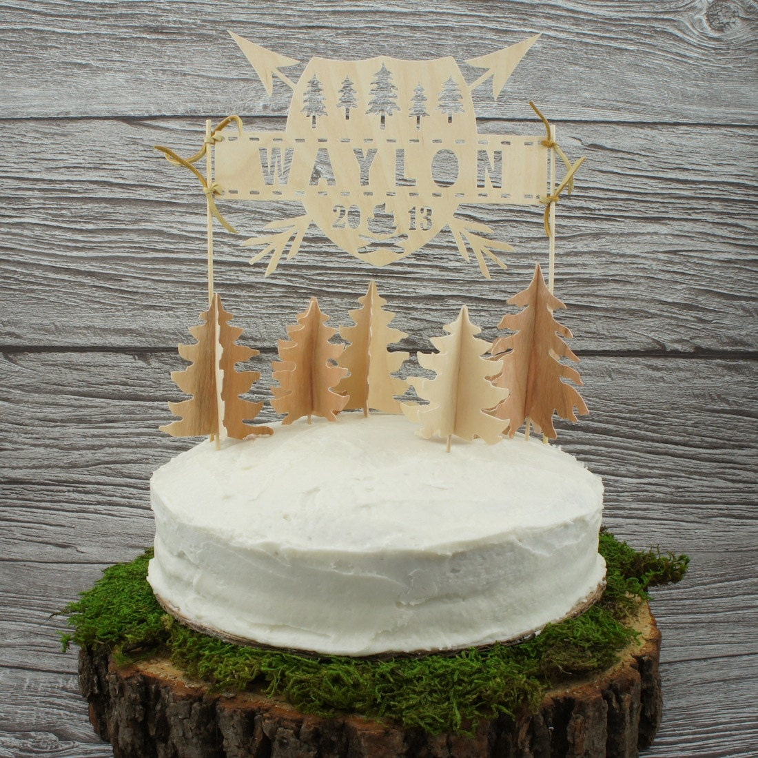 Cake Toppers Etsy Uk : Personalized Wilderness Cake Topper