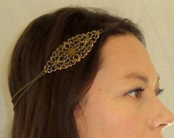 Bohemian headchain, Boho head jewelry, Boho chic head piece, Gypsy head chain, Chain headpiece, Bronze headband