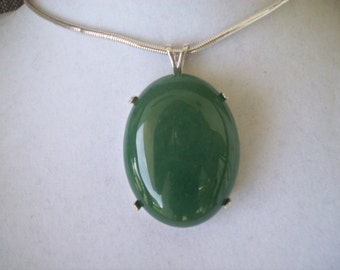 Large Aventurine Pendant in Sterling Silver - 40x30mm