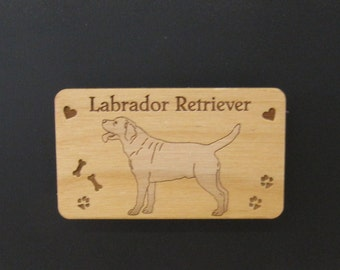 Original Design Yellow Labrador Retriever Wood Magnet