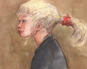 Blonde Girl with a Ponytail - Original Watercolor