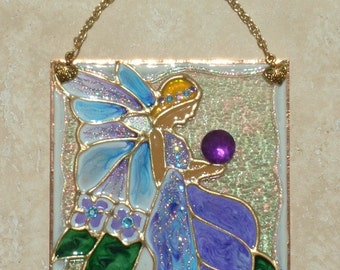Purple Blue Fairy Art Stained Glass Panel, Stained Glass Fairy Suncatcher Fairy Decor Decoration Wall Art Hanging Fairy Ornament Themed Gift