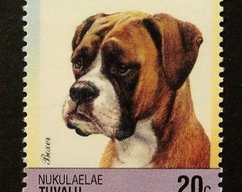Boxer Dog -Handmade Framed Postage Stamp Art 14067AM