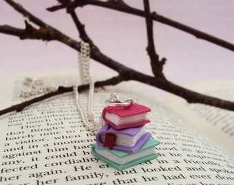 Stacked Book Necklace, Book Necklace, Bookish Jewelry, Nerd, Geek Jewelry, Polymer Clay Books, Miniature Books, Miniature Jewelry