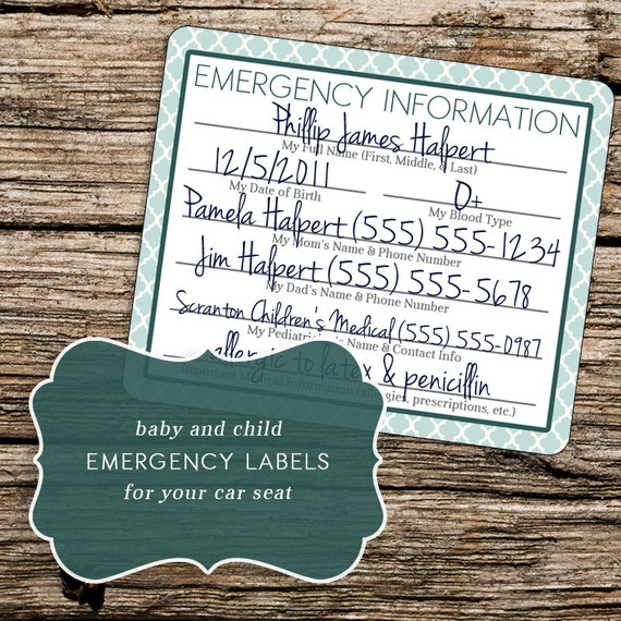 Printable Car Seat Emergency Labels For Baby Infant By