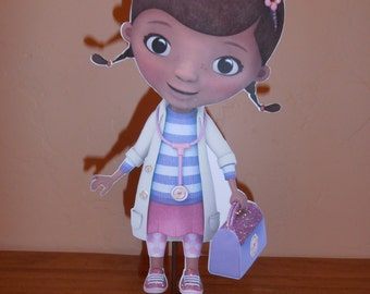 Doc McStuffins Centerpiece- double sided mounted on a woood base