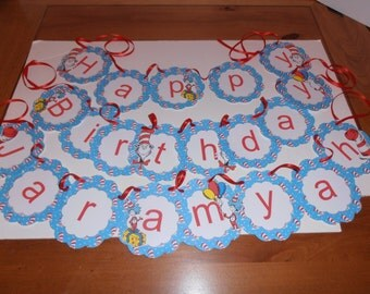 Dr. Seuss happy birthday banner with name