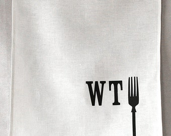 what the fork linen tea towel