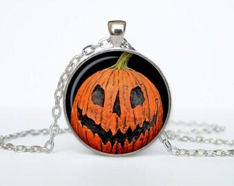 Halloween necklace Trick or Treat Halloween Pendant Halloween  jewelry black orange brown