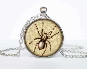 Spider necklace Insect necklace bug pendant Victorian England jewelry beige black brown