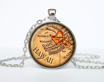 Hawaii map pendant, Hawaii map necklace, Hawaii map jewelry, Hawaii