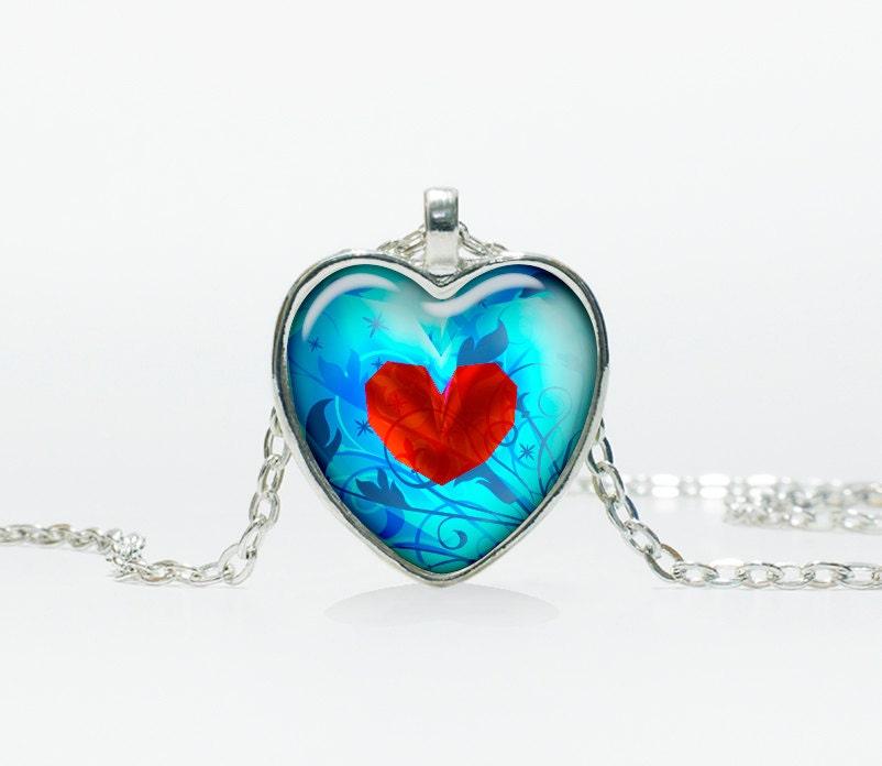 Zelda Heart Container Necklace: Heart Pendant Zelda Heart Necklace Heart By TheJewelryIsland