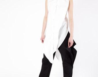 Collar Shirt, Maxi Asymmetrical Shirt, White Fitted Top, Japanese Shirt, Party Shirt, Feminine Shirt, Knee Length Shirt, Avant Garde Shirt