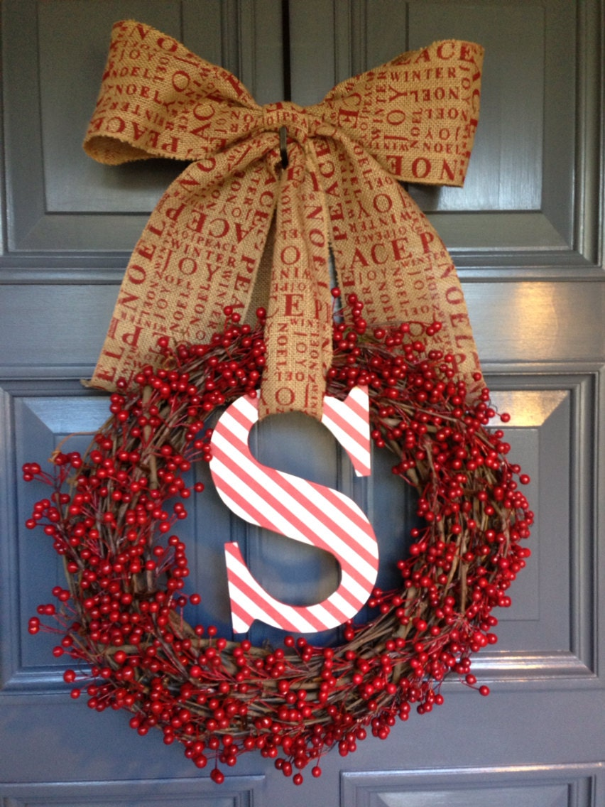 christmas holidays monogram initial berry burlap wreath red