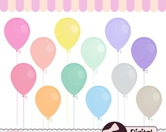 Pastel Party Clipart, Digital Balloon Clip Art, Commercial Use