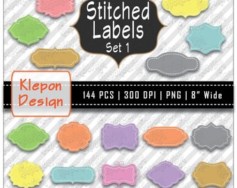 144 Stitched Label / Tag INSTANT DOWNLOAD 300 dpi png files Scrapbooking Banner Clipart Printable Graphic Frames (kd5423)