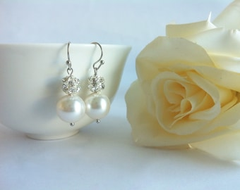 Pearl and crystal pave earrings, bridal earrings with pearl and crystal