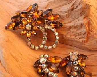 Unsigned WEISS ,Demi  Parure Amber / AB Stones,Gorgeous!