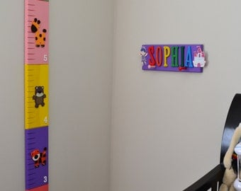 Wooden Growth Chart - Animals Theme