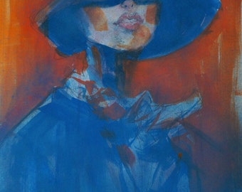 Original Painting / Woman / Fashion / France / Hat
