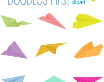 Paper Planes Digital Clip Art for Scrapbooking Card Making Cupcake Toppers Paper Crafts