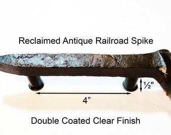 """4"""" Right Sealed Railroad Spike Cupboard Handle Dresser Drawer Pull Cabinet Knob Antique Vintage Old Rustic Re-purposed House Restoration"""