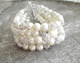 Bridal Cuff Bracelet - Chunky Pearl Bracelet - Bridal Bracelet - Bridal Jewelry - Bridesmaid Jewelry - Pearl Cuff Bracelet - Crystal Bridal
