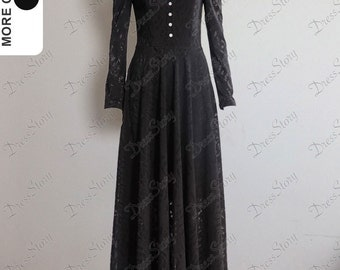 Long Sleeved Black Maxi Dress with Shirt Top - Maxi Dress 145