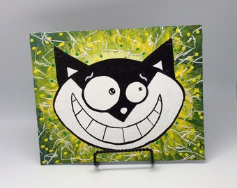 Cat wall art, nursery wall decor, whimsical Cat portrait, acrylic canvas, nursery wall art, cat painting, fun wall art