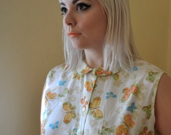 Butterfly Sleeveless Button Up with Peter Pan Collar
