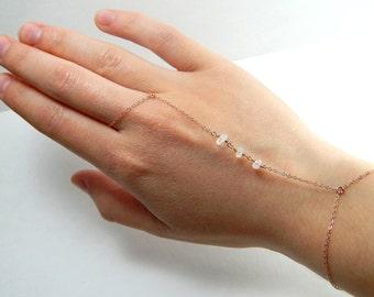 White moonstone rose gold finger bracelet, dainty moonstone slave bracelet, slave bracelet rose gold white beads beaded finger bracelet 358
