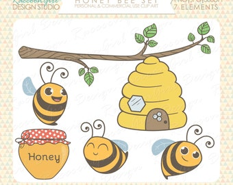 50% OFF Honey Bee Clip Art Set - Personal & Commercial Use
