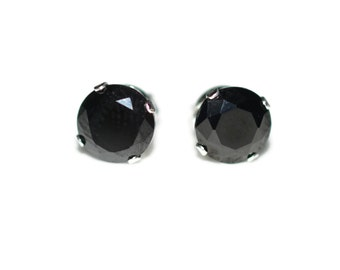 7mm Round Black Cubic Zirconia CZ Sterling Silver Stud Earrings - Black Cubic Zirconia CZ Post-Style Round Silver Earrings