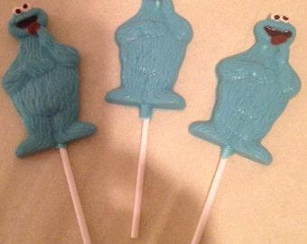Set of 6 Cookie Monster Lollipop