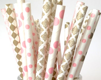 Blush Gold Straws Blush Pink and Gold Paper Straws Blush Gold Decorations Baby Shower, Bachelorette Wedding Decor Pink Gold Party Decor