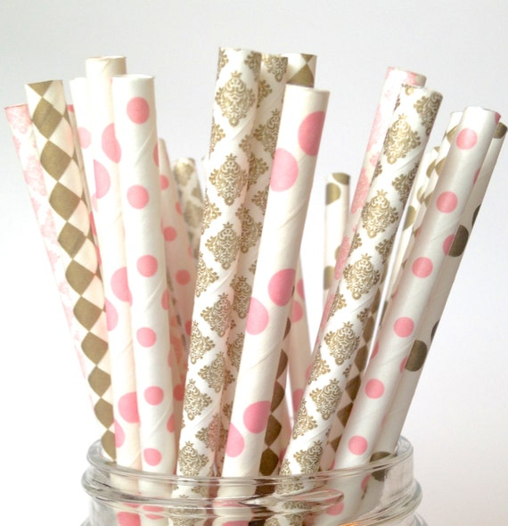 blush pink wedding straws