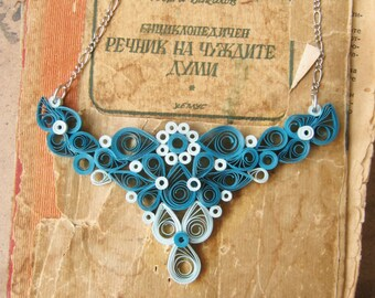 Paper necklace, First anniversary gift for her, 1st wedding anniversary, Paper jewelry, blue Jewelry, Paper Anniversay gift for wife
