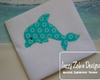 Dolphin Appliqué embroidery design with Square Diagonal Stitching Design - dolphin appliqué design - beach appliqué design - summer appliqué