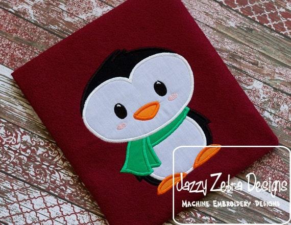 Penguin 4 Applique embroidery Design - penguin Applique Design - winter Applique Design