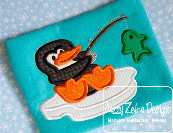 Penguin Fishing on Iceberg Applique embroidery design - penguin appliqué design - fishing appliqué design - winter appliqué design