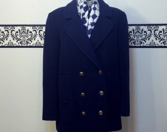 1950's Navy Blue, Fine Wool Double Breasted Peacoat by Macintosh, Women's Size Medium / Petite Large, Vintage 1960's Navy Blue Peacoat