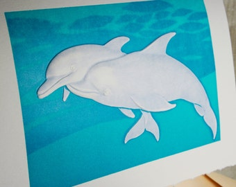 Dolphins Card. Letterpress. Valentine. Love. Anniversary. Single card. Blank Inside.