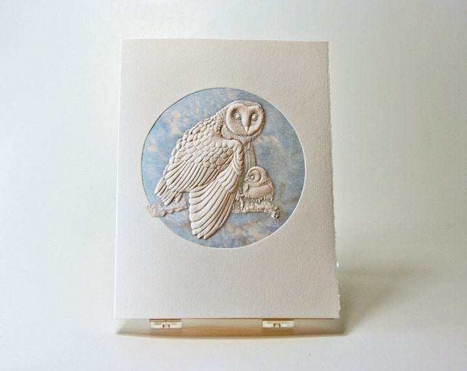 Barn Owl Card. Baby Shower. Birthday. Letterpress. Embossed. Single card. Blank inside.